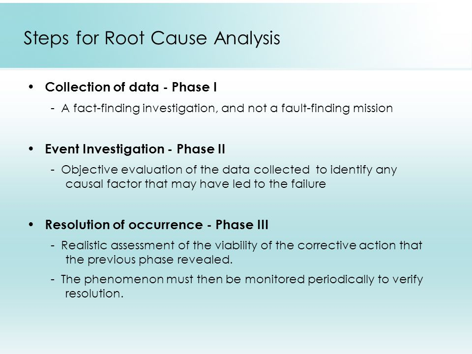 Steps for Root Cause Analysis