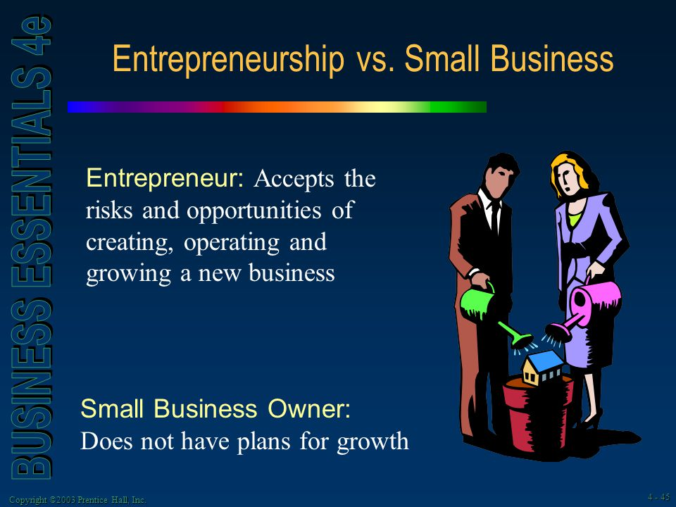 small business vs entrepreneurship Small business versus entrepreneurship i came across an article that took my interest, it was written by peter i hupalo about small business and entrepreneurship.