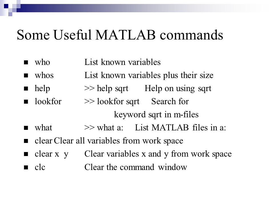 Some Useful MATLAB commands