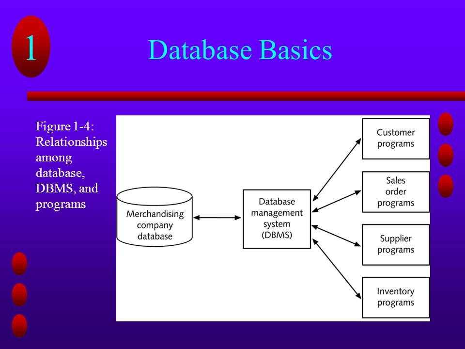 Database Basics Figure 1-4: Relationships among database, DBMS, and programs