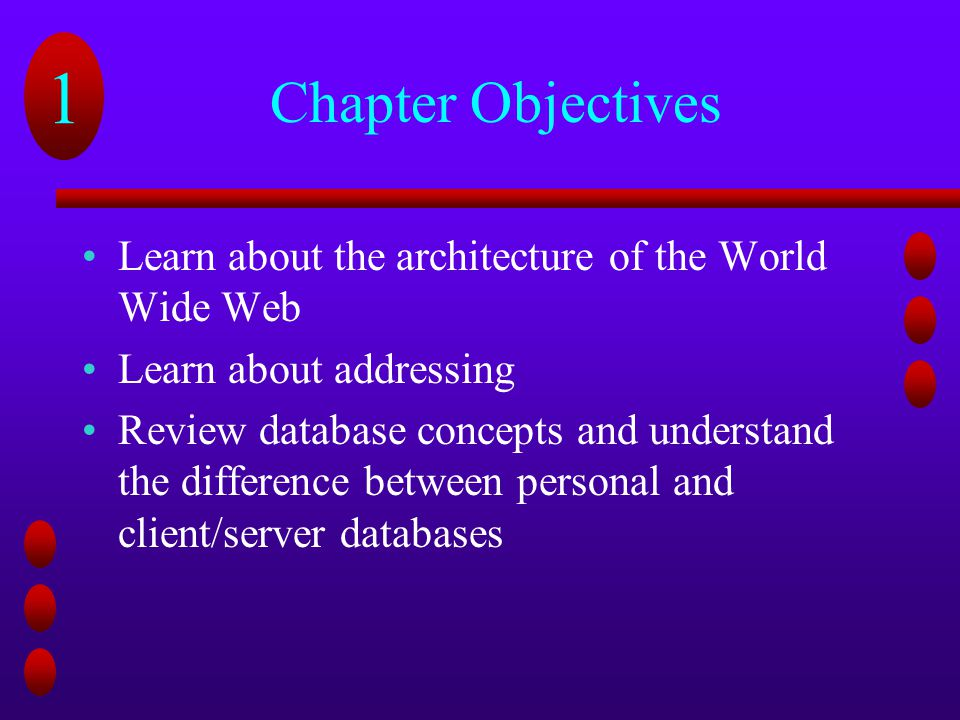 Chapter Objectives Learn about the architecture of the World Wide Web