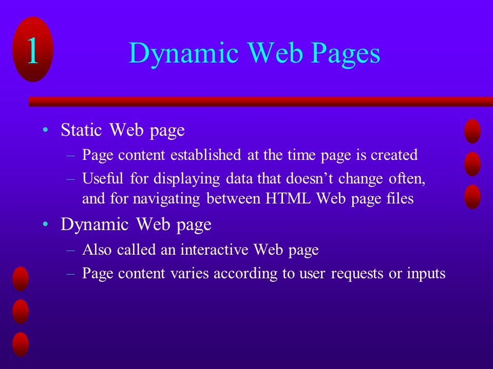 Dynamic Web Pages Static Web page Dynamic Web page