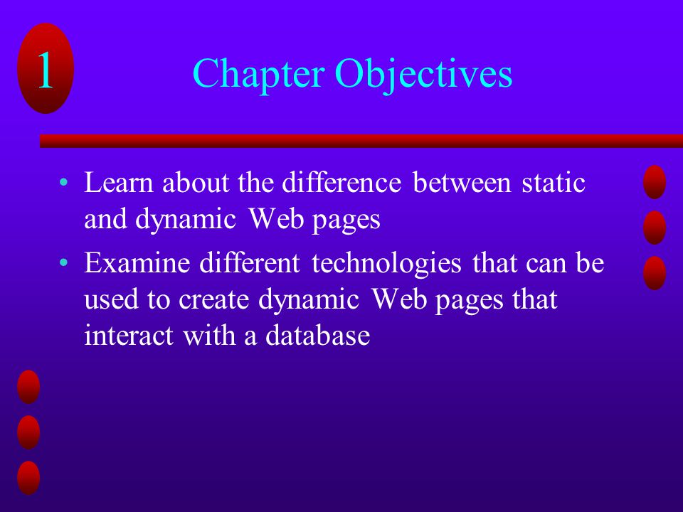 Chapter Objectives Learn about the difference between static and dynamic Web pages.