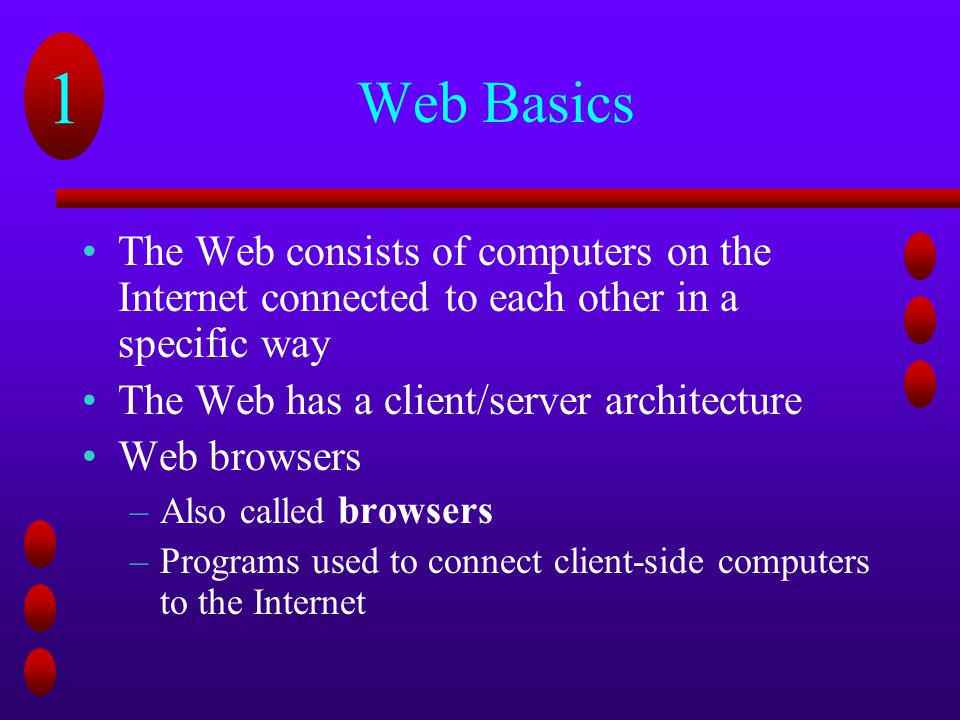 Web Basics The Web consists of computers on the Internet connected to each other in a specific way.