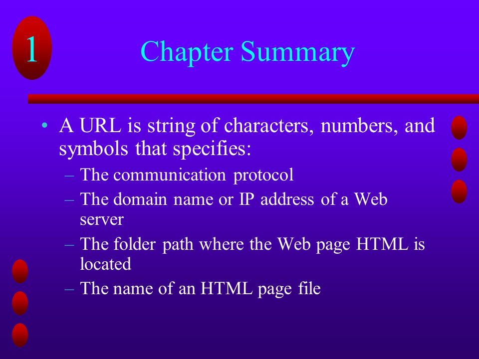 Chapter Summary A URL is string of characters, numbers, and symbols that specifies: The communication protocol.