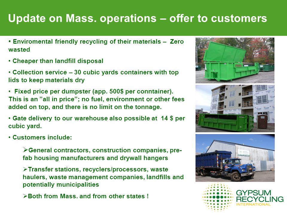 Update on Mass. operations – offer to customers