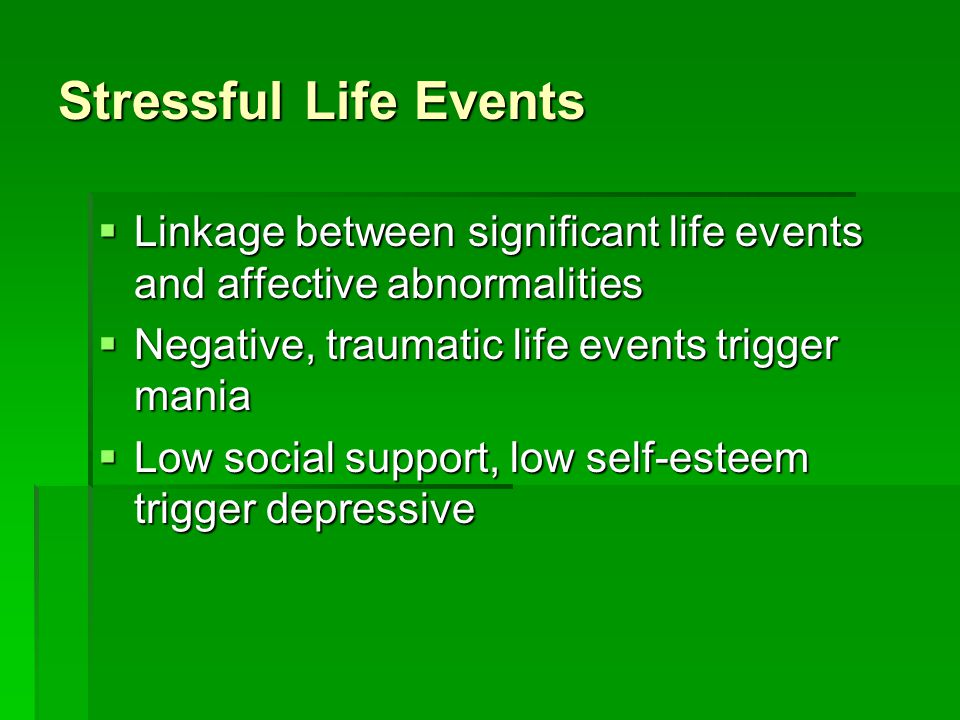 experienced negative life events Abstract in a meta-analysis of 25 studies, the relationship of both specific types of  negative life events and the total number of experienced events to depre.