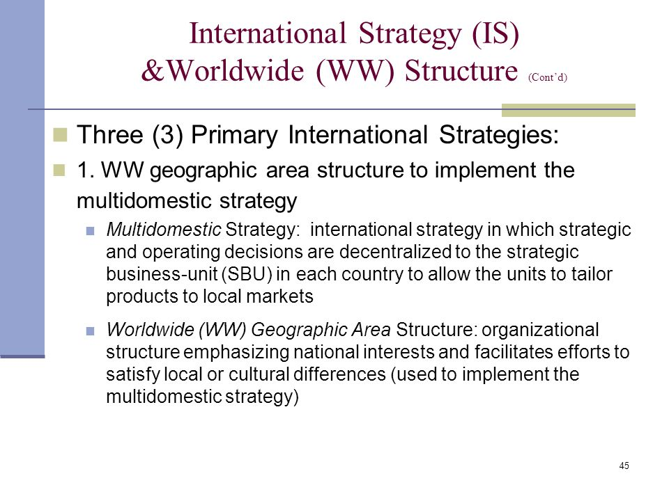 difference between global strategy transnational strategy and multidomestic strategy Differentiate domestic strategies from global strategies  the options form a continuum between operations and products  this is a global strategy because each.