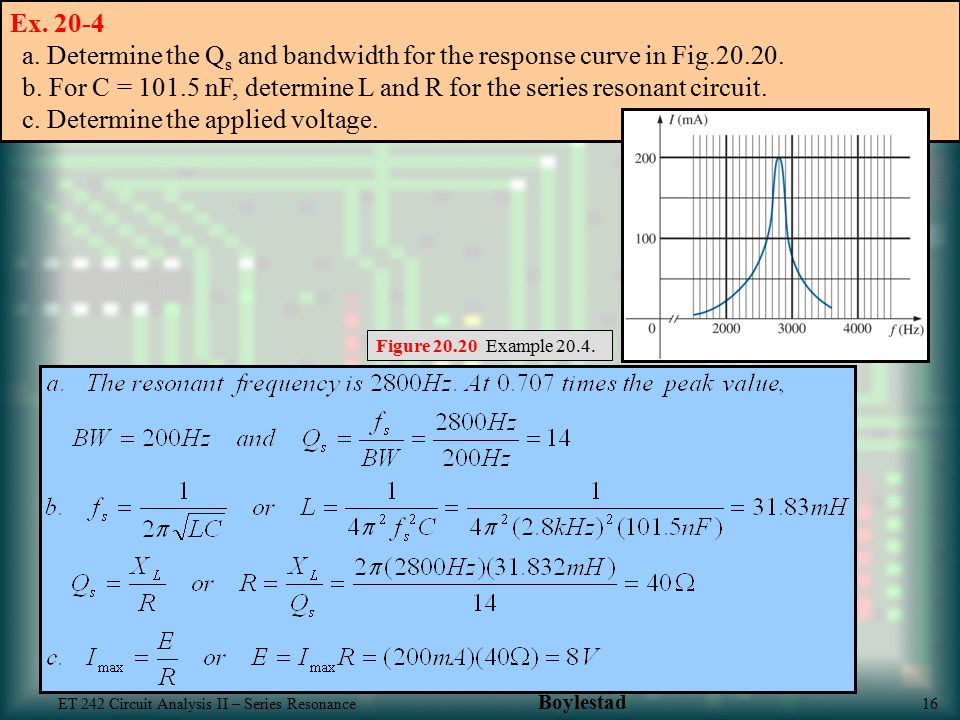 Ex a. Determine the Qs and bandwidth for the response curve in Fig b. For C = nF, determine L and R for the series resonant circuit. c. Determine the applied voltage.