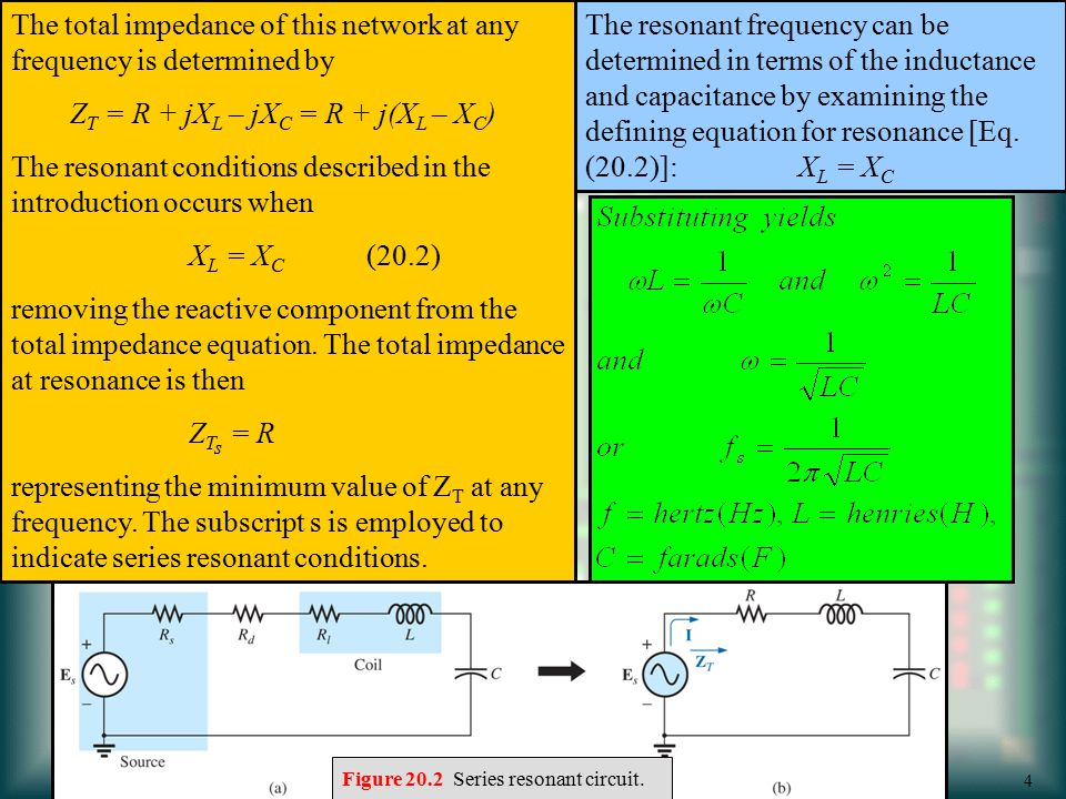 The total impedance of this network at any frequency is determined by