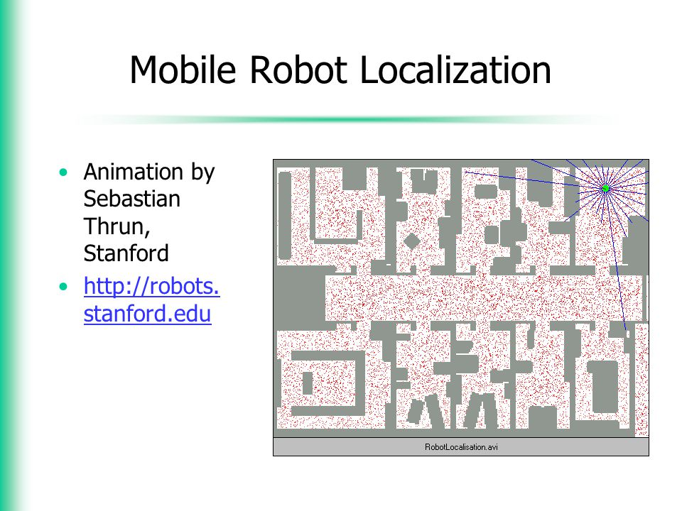mobile robot localization Mobile robot localization with recursive bayesian filters: 104018/978-1-4666-2104-6ch007: in this last chapter of the second section, the authors present probabilistic solutions to mobile.