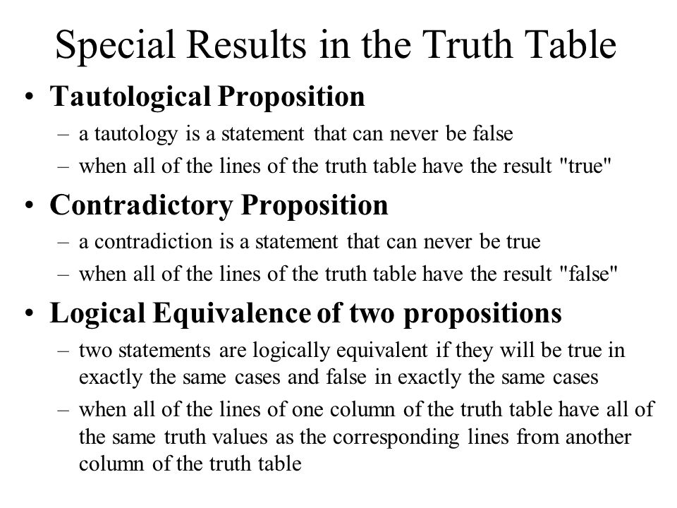 Special Results in the Truth Table