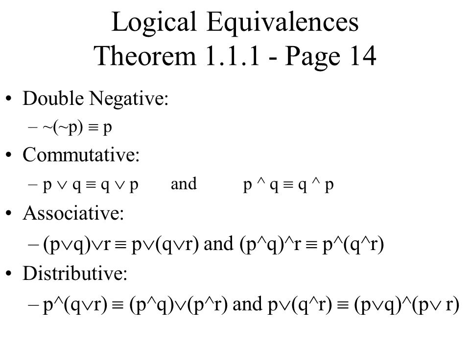 Logical Equivalences Theorem Page 14