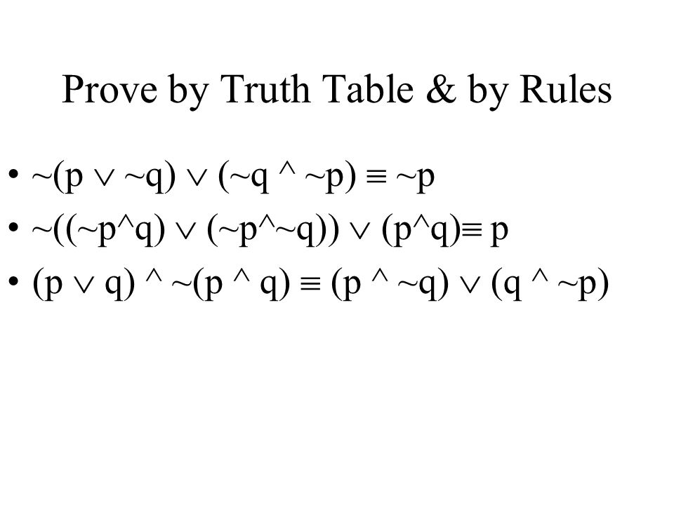 Prove by Truth Table & by Rules