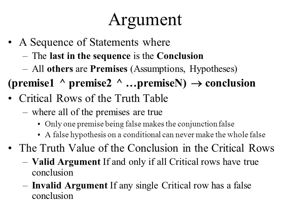 Argument A Sequence of Statements where