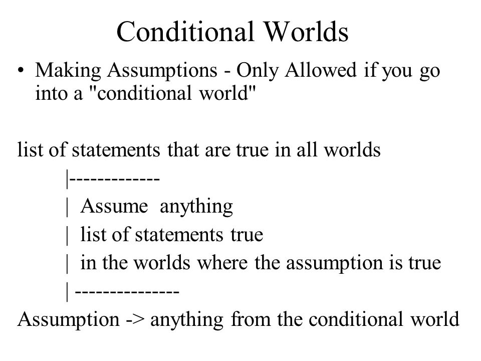 Conditional Worlds Making Assumptions - Only Allowed if you go into a conditional world list of statements that are true in all worlds.