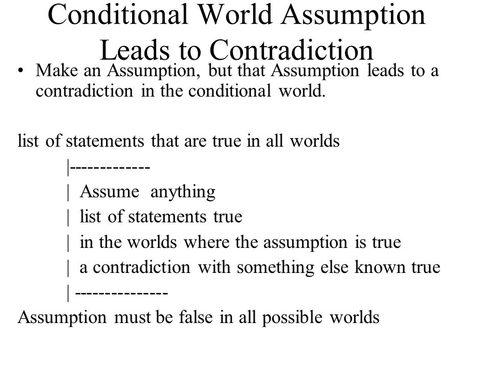 Conditional World Assumption Leads to Contradiction