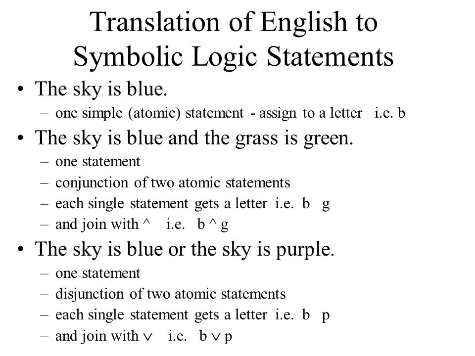 Translation of English to Symbolic Logic Statements