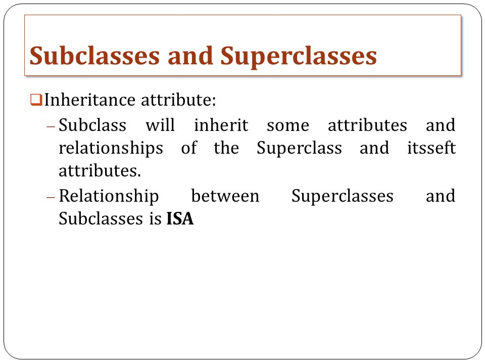 relationship between super class and subclasses in java