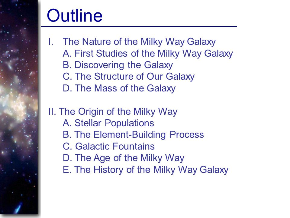 Outline The Nature of the Milky Way Galaxy