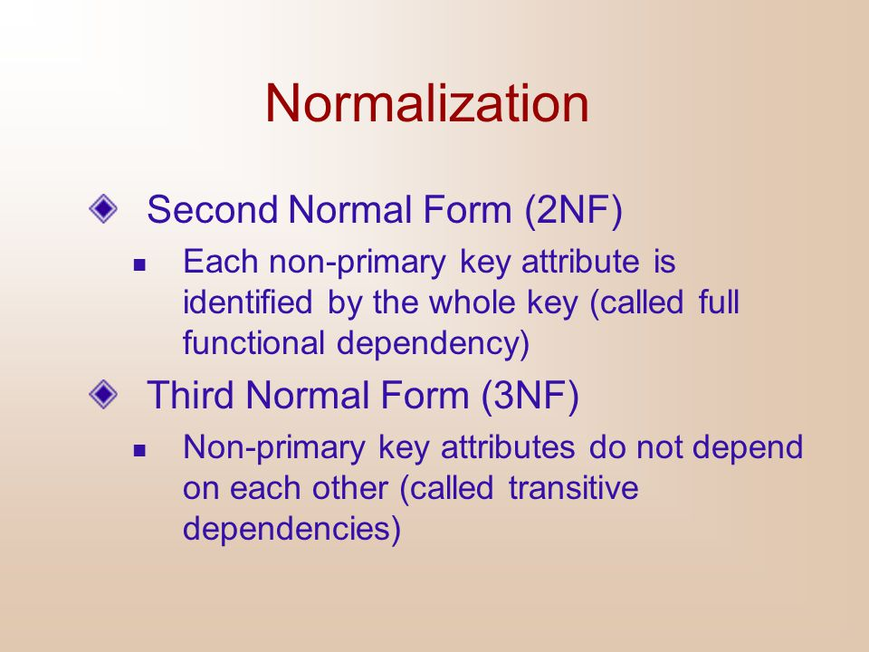 Normalization Second Normal Form (2NF) Third Normal Form (3NF)