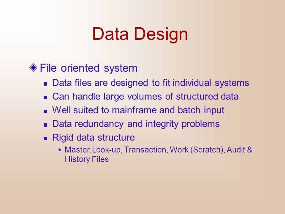 Data Design File oriented system
