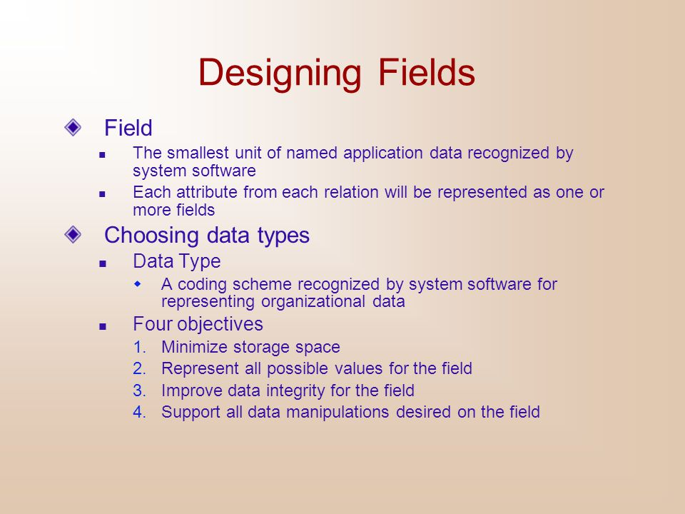 Designing Fields Field Choosing data types Data Type Four objectives