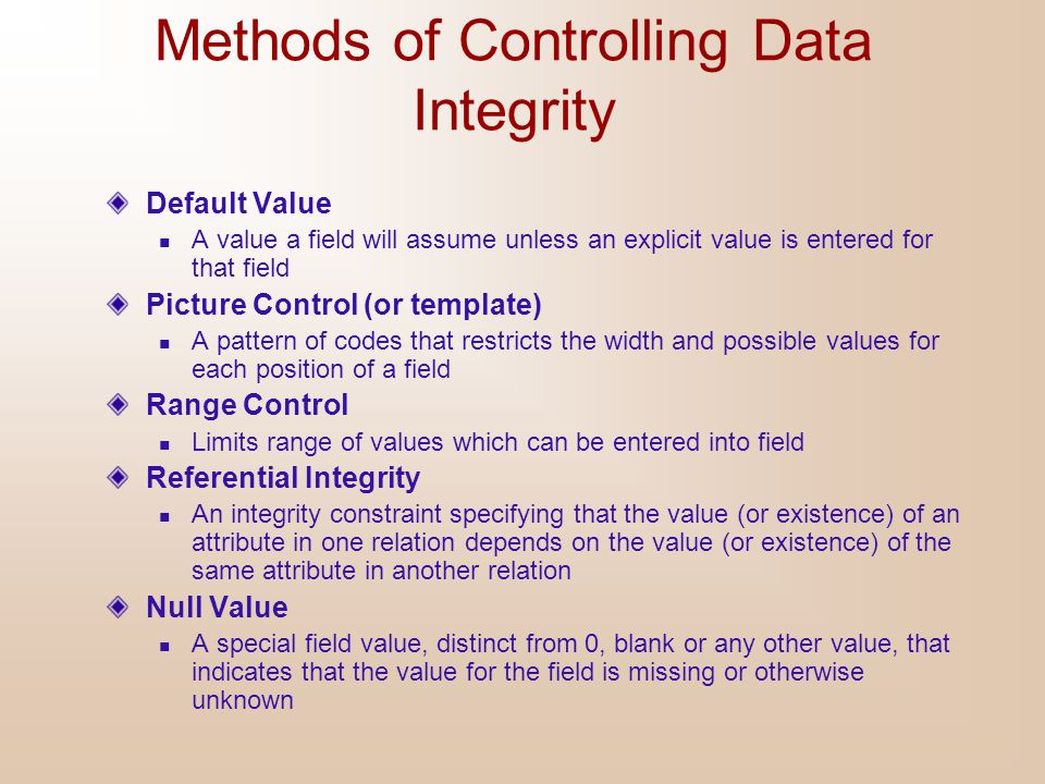 Methods of Controlling Data Integrity
