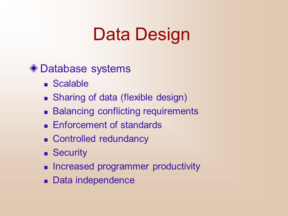 Data Design Database systems Scalable