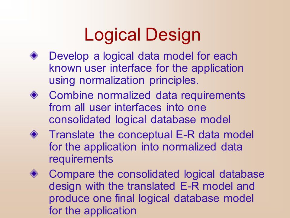 Logical Design Develop a logical data model for each known user interface for the application using normalization principles.