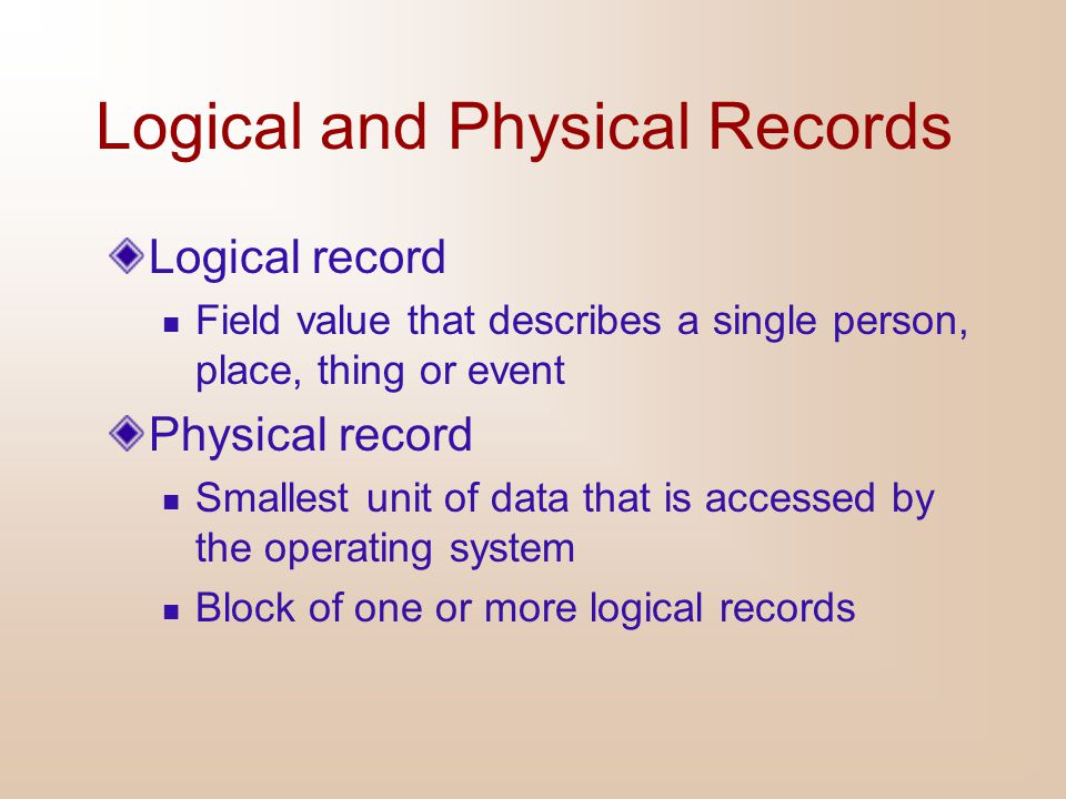 Logical and Physical Records