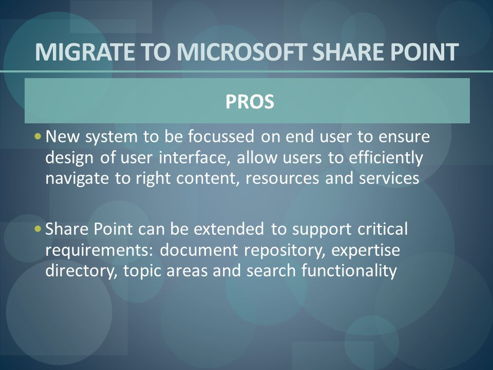MIGRATE TO MICROSOFT SHARE POINT