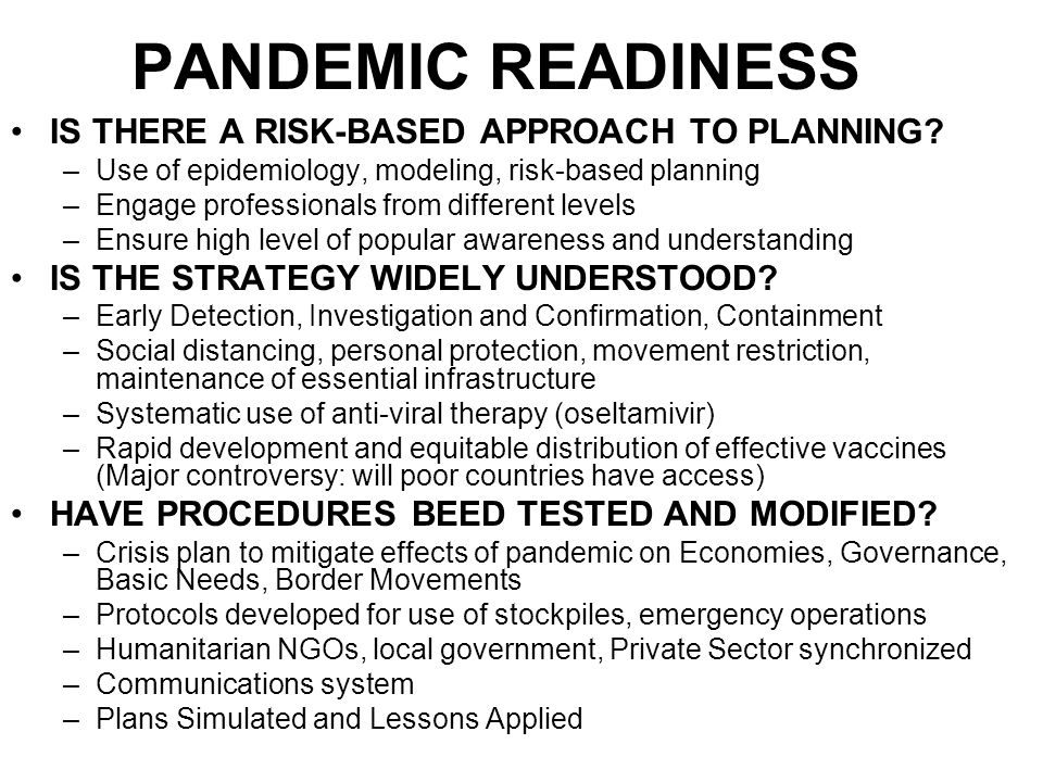 PANDEMIC READINESS IS THERE A RISK-BASED APPROACH TO PLANNING