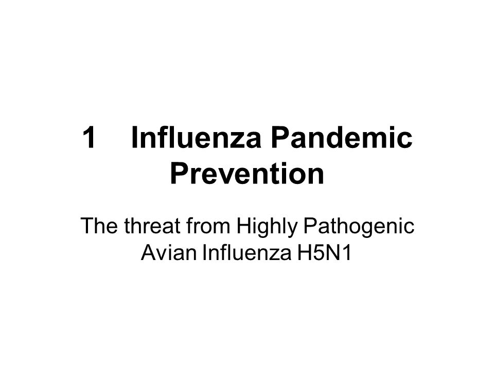 1 Influenza Pandemic Prevention