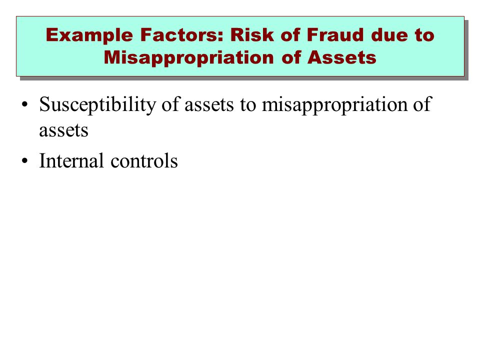 Example Factors: Risk of Fraud due to Misappropriation of Assets