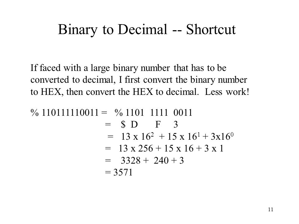 Binary to Decimal -- Shortcut