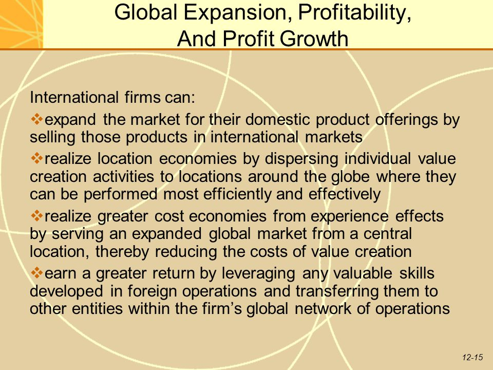 Global Expansion, Profitability, And Profit Growth