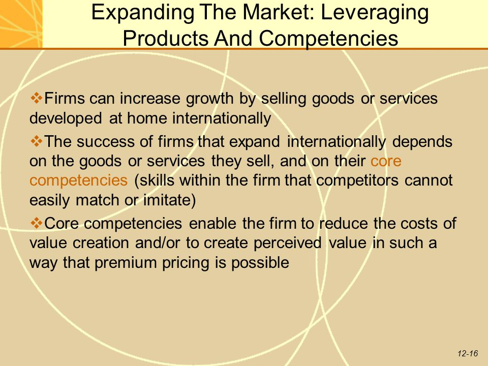 Expanding The Market: Leveraging Products And Competencies