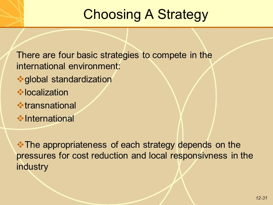 Choosing A Strategy There are four basic strategies to compete in the international environment: global standardization.