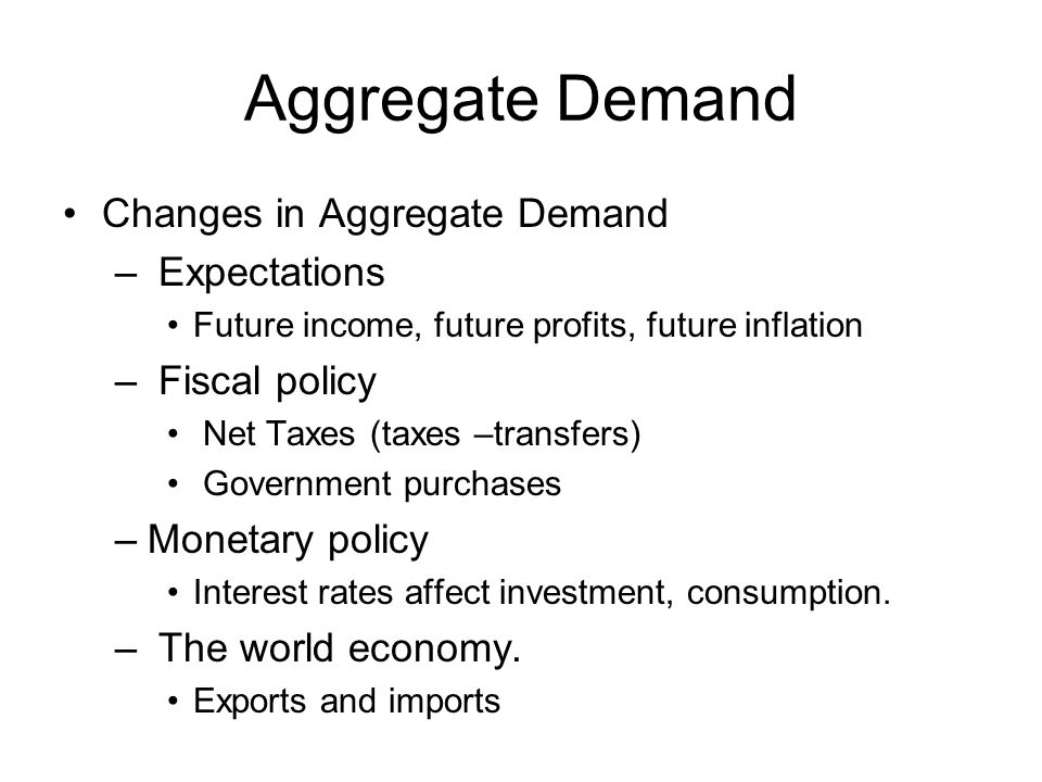 Aggregate Demand Changes in Aggregate Demand Expectations