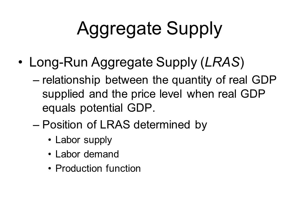 Aggregate Supply Long-Run Aggregate Supply (LRAS)