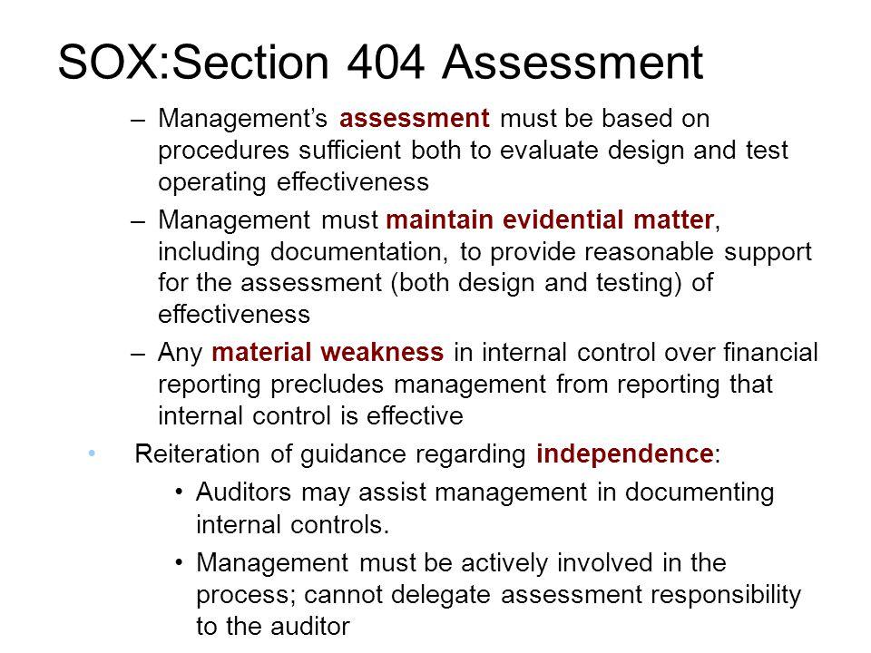 30 soxsection 404 assessment - Sox Process Documentation