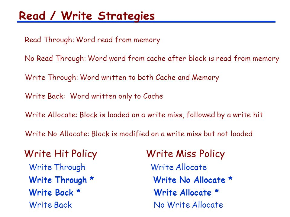 Read / Write Strategies
