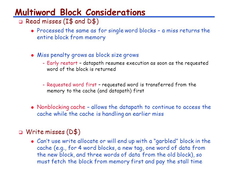 Multiword Block Considerations