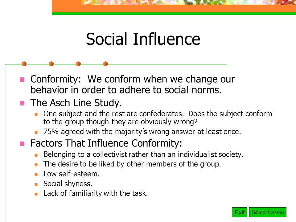 Influences of conformity and obedience