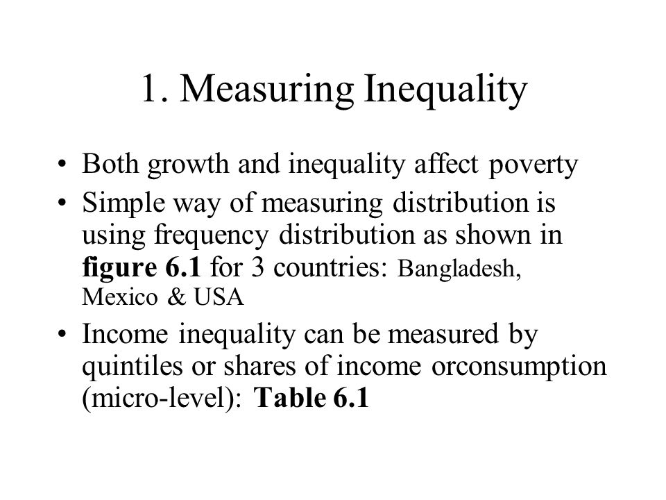 measuring inequality A look at how income inequality is measured.