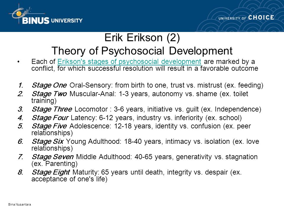eriksons psychosocial theory of development young Substance abuse analysis using erikson the essay will also discuss erikson's theory of development and adolescence and young adulthood erikson.