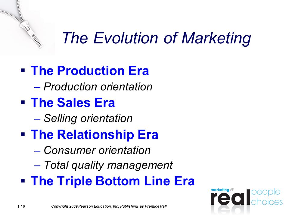 production orientation era In the context of evolution of the marketing concept, the era of production orientation was characterized by the development of new technologies such as new machines and faster techniques these technologies made the products or goods manufacturing system more efficient and faster.