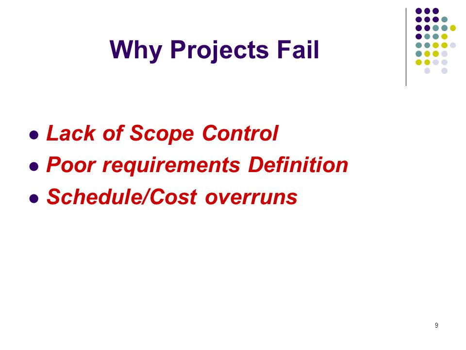 explanation as to why projects fail essay Our library of articles provides valuable insights into the  a back-to-basics look at why so many organisations run projects  projects fail for many.