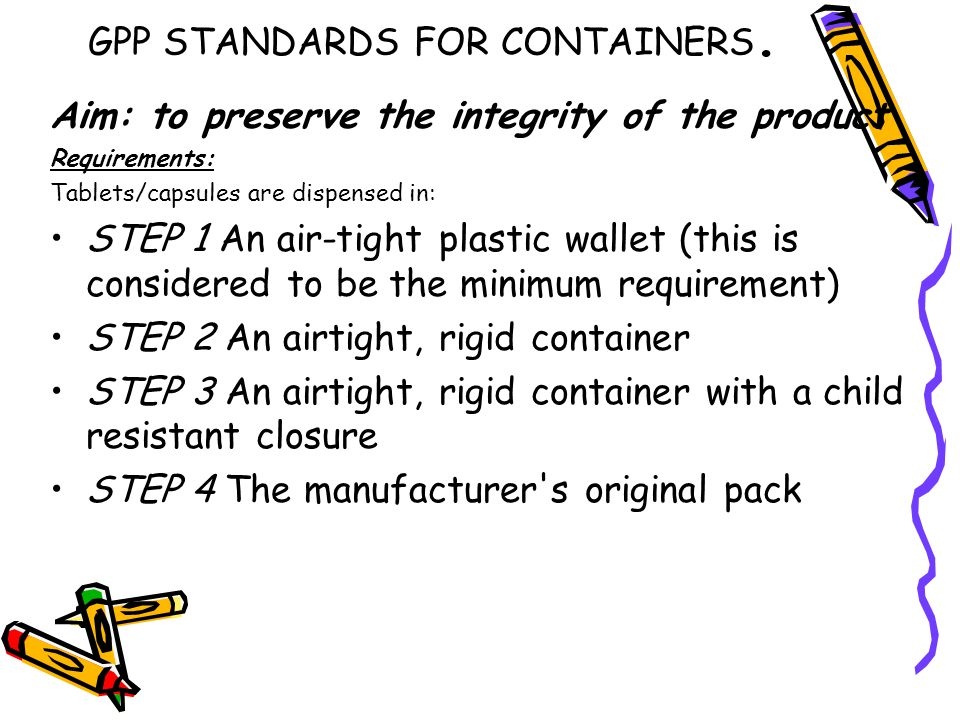 GPP STANDARDS FOR CONTAINERS.